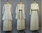 Vintage Edwardian Linen Walking Suit, Coat, Skirt & Blouse, Antique 1900s 36 bust