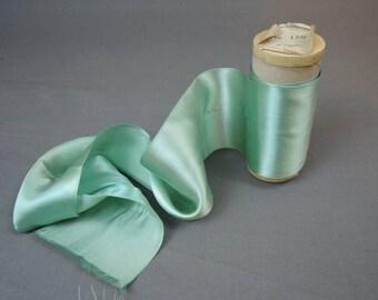 4 inch wide Antique Rayon Ribbon, 2-1/4 yards, 1920s Seafoam Green Satin