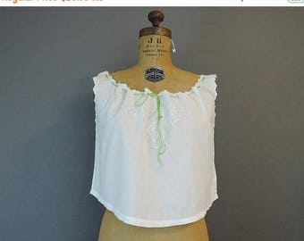 20% Sale - Vintage White Cotton Camisole, Lingerie Top, fits 38 inch bust, Embroidery & Ribbon
