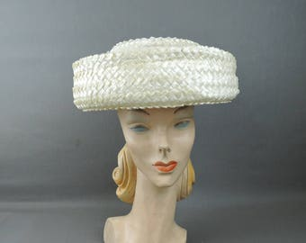 Vintage White Straw Hat with Wide Curled Brim, fits 21 inch head 1950s 1960s