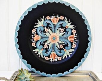 vintage rosemaling painted tole wood plate scandinavian folk art style