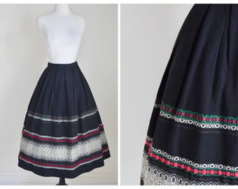 Vintage 70's Folk Skirt - Wool Embroidered Skirt