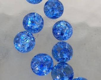 14mm Periwinkle Blue Crackled Glass Marbles 20 pieces Cracked Baked Jewelry Pendant Making Supplies Visual Arts Orbs Glass Stone