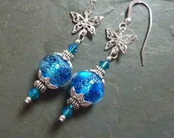 Blue Beauties & Butterflies  Earrings, Sterling Earwires, Handmade