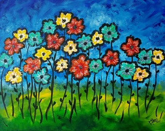 Flowers of My Spiritual Garden - Original Acrylic 16x20