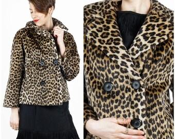 Vintage 60's Faux Leopard Print Fur Cropped Swing Peacoat Jacket by Michael J. Leo | Small Medium
