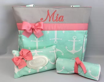 ANCHORS Mint .... DIAPER Bag SET   .. Coral Gray accents ... Monogrammed Free