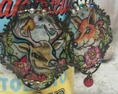 Lilygrace Handpainted Deer and Fox Earrings with Vintage Rhinestones and Coral Beads