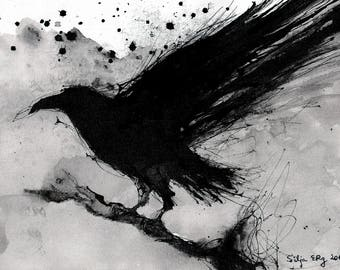 Crow painting - Ink on 8x12in canvas, A4, 20x30cm - abstract flying crow - sumi 2
