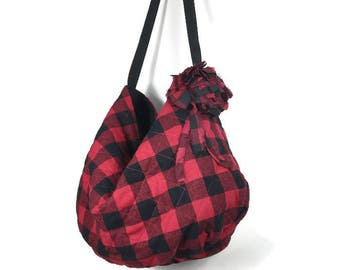 Red and Black Buffalo Check Quilted Hobo Bag Handbag Red and Black Buffalo Plaid Shoulder Bag Red and Black Buffalo Check FREE  US SHIPPING