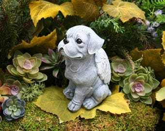 Boxer Dog Angel Statue, Boxer Memorial, Concrete Boxer Statue