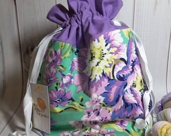 Purple Floral Drawstring Project Bag- Medium- Knitting- Crochet- Needlearts- Crafting- Artist