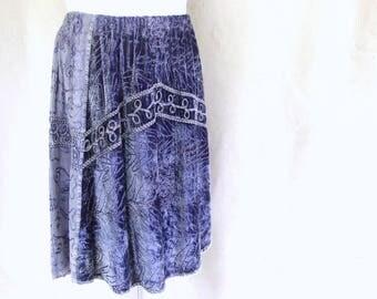 Upcycled Denim and Velvet Skirt, Vintage 1990's Skirt, Modern Size 10 - 20, Extra Large