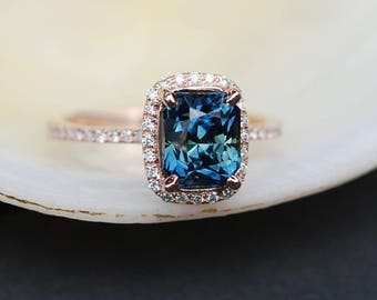 Peacock sapphire engagement ring. 2.36ct emerald cut blue green sapphire ring diamond ring 14k Rose gold ring