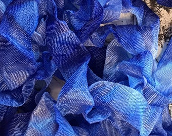 BLUEPRINT SKETCH Crinkle Seam Binding Ribbon Crinkly Stained Hand Dyed Ribbon by Starry Nites Farm