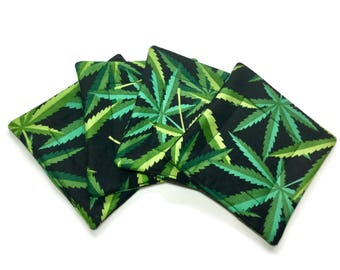 Handmade Quilted Coasters Cannabis Marijuana Pot Leaves set of 4 Alexander Henry