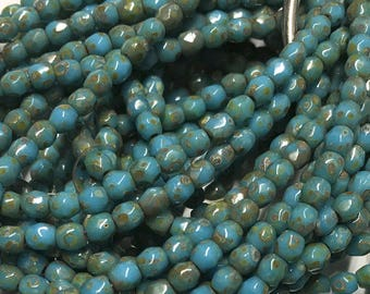 Maya Blue Picasso Czech Glass Firepolished Crystal Beads 3mm 50 beads