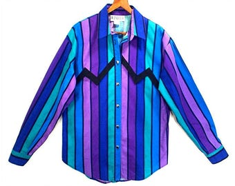 80's BOLD STRIPES shirt // vintage cotton striped blouse // made in USA // women's M