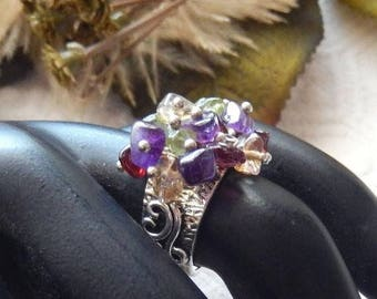 ChristmasInJulySALE..... Unique Sterling Silver Multi Gemstone Artisan Crafted Ring