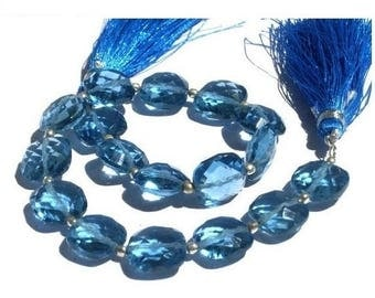 Sale 45% off 1/2 Strand - Outrageous AAA London Blue Quartz Faceted Cushion Briolettes Size 10x10mm approx