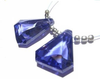 50% Off Sale Matched Pair of AAA Sapphire Blue Corundum Quartz Faceted Fancy Triangle Briolettes 13x11.5xmm approx