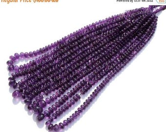 "50% Off Sale Full 19"" Long  6-11mm Finest Quality Natural African Amethyst Smooth Rondelle Beads, Natural Gemstone Beads"