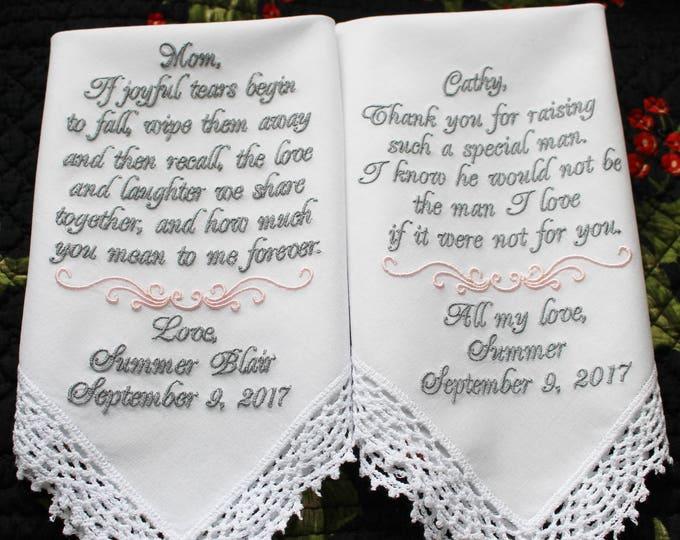 Two (2) Embroidered Wedding Handkerchiefs, Mother of the Bride, Mother of the Groom, Wedding Handkerchiefs. Wedding Hankies, Hankys
