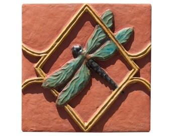 "Dragonfly Terracotta Ceramic Tile in Sea Green & Ocher Glaze (6"" x 6"")"