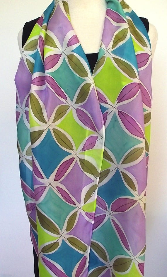 Hand Painted Silk Scarf, Diamonds and Leaves in Lime, Turquoise, Purple, Plum and Olive, 14x72""