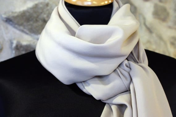 Shawl, scarf or square Beige Nude chiffon