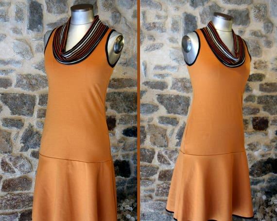 Orange-Tan, Tan stripe collar dress. Creative women Jersey cotton dress