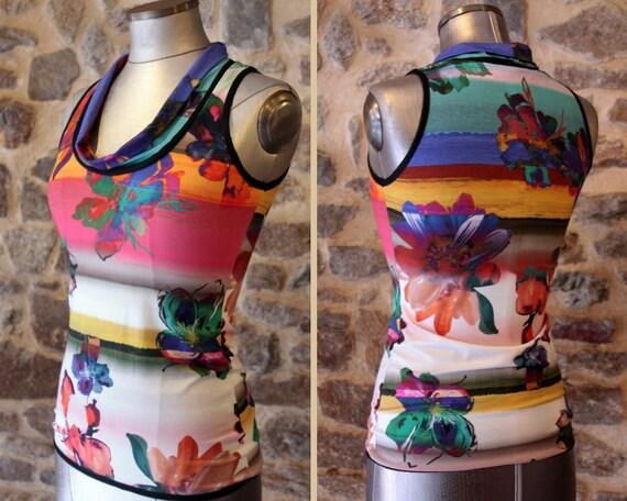 TTee Shirt tank top, summer flowers multicolor Hibiscus. Sleeveless Cotton Jersey top. T 38
