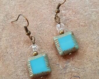 Turquoise glass earrings Handmade