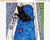 25% off cat tile - cat art - Bombay Cat Taking a Bath Art Tile, cat gifts, gift