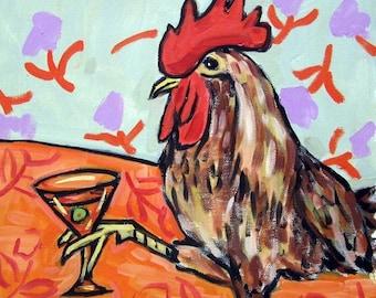 20 % off storewide Chicken at the Martini Bar Art Print  JSCHMETZ modern abstract folk pop art gift