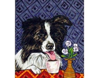 20% off storewide Border Collie at the Coffee Shop Dog Art Print  JSCHMETZ modern abstract folk pop art gift