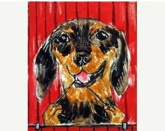 20% off Dachshund , dachshund art, dachshund print, gift for dentist, modern dog art,  print, folk art,