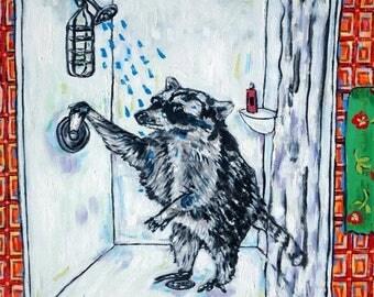 20% off raccoon bathroom animal art tile coaster  JSCHMETZ modern abstract folk pop art AMERICAN ART gift