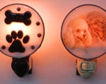 Dog Nightlights x4 - Doggy PAWS Glass Nightlight - Dog Lovers Gift - Perfect Christmas Gift
