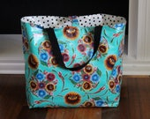 large beach bag - waterproof beach bag - pool bag - reversible bag - oilcloth bag - gifts for her - teacher gifts