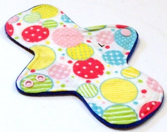 """Reusable Cloth Menstrual pad- 8 inch LIGHT flow pantyliner-bamboo/organic cotton core- Windpro - cotton flannel top """"Bubbles"""""""