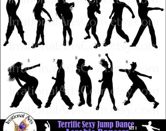 Terrific Sexy Jump Dance Aerobic Dancers Silhouettes INSTANT DOWNLOAD 11 png digital graphics clipart graphics