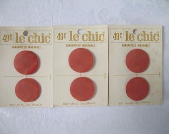 Made in Japan Three Sets of Vintage Orange 1 1/8 Inch Textured Washable Buttons