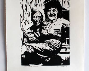 Original Linocut -Sadie and her solider-Handcarved Handprinted Flirt Smile Artwork