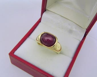 AAAA Star Ruby (Glass-filled) 5.89 carats  10.3x8.2mm in 14K Yellow gold bezel set ring.  0250