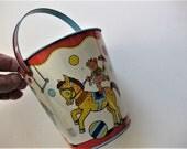 Vintage J Chein Tin Beach Bucket, Colorful Graphics, Circus Theme