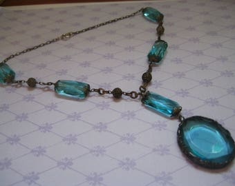 Ornate 20s or 30s Aqua Faceted Glass Choker Probably Czechoslovakia