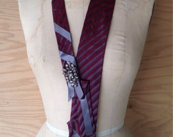Burgundy Origami Silk Tie Necklace