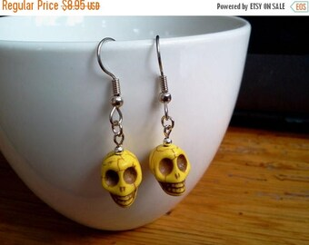 25% off Summer Sale Skull Earrings Yellow Sugar Skull Earrings Howlite