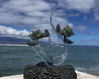 Double turtle glass sculpture